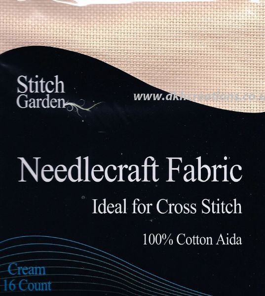 Stitch Garden Cream 16 Count Aida Fabric